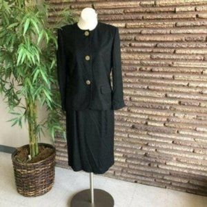Oleg Cassini Vintage Womens Black Skirt Suit